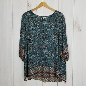 Cato | Boho Teal Paisley Blouse, Open Sleeves